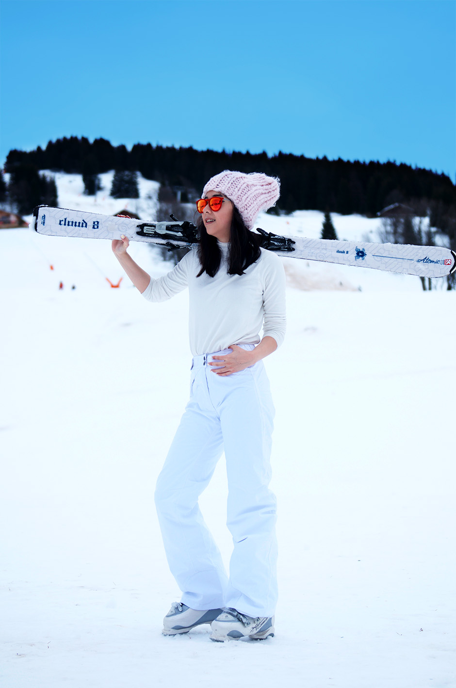 ski look style outfit white