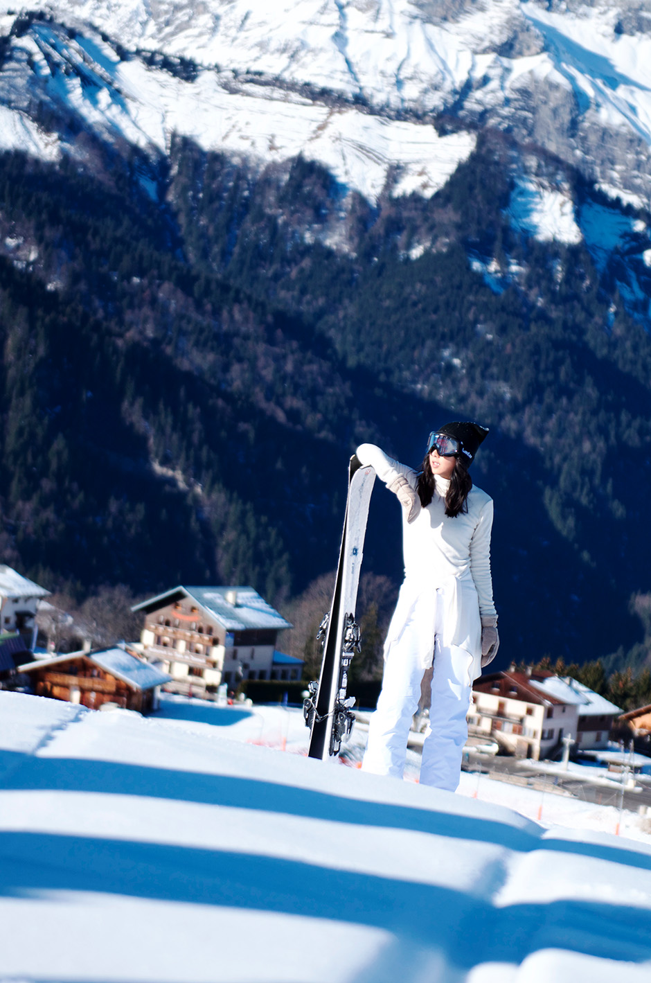 ski style all white and black outfit